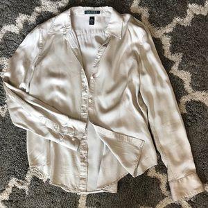 Lauren Ralph Lauren Silky Button Down Shirt Size L